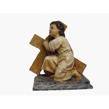 NIÑO JESÚS arrodillado en la cruz